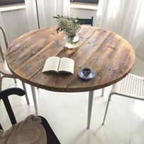 Stół okrągły ze starego drewna loft design retro vintage industrial