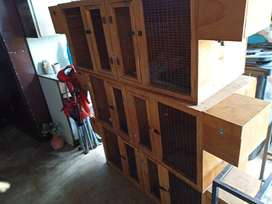 Wooden duble breeder cages x3