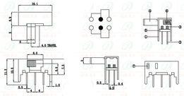 ползунковый Переключатель 0.5A 50 В AC SK22H02