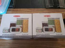 Brand new 5pcs set Fine Living Storage boxes with clear window lid.