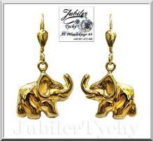 Złote kolczyki słonie słoń dwustronny angielskie zapięcie złoto Tychy