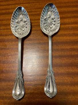 Victorian Sheffield Plate silver berry spoons
