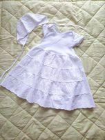 Платье +чепчик на крестины. 1-6 месяцев.