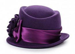 Шляпка Venera (Италия) Новая 100% Шерсть Фиолетового Цвета С Цветком