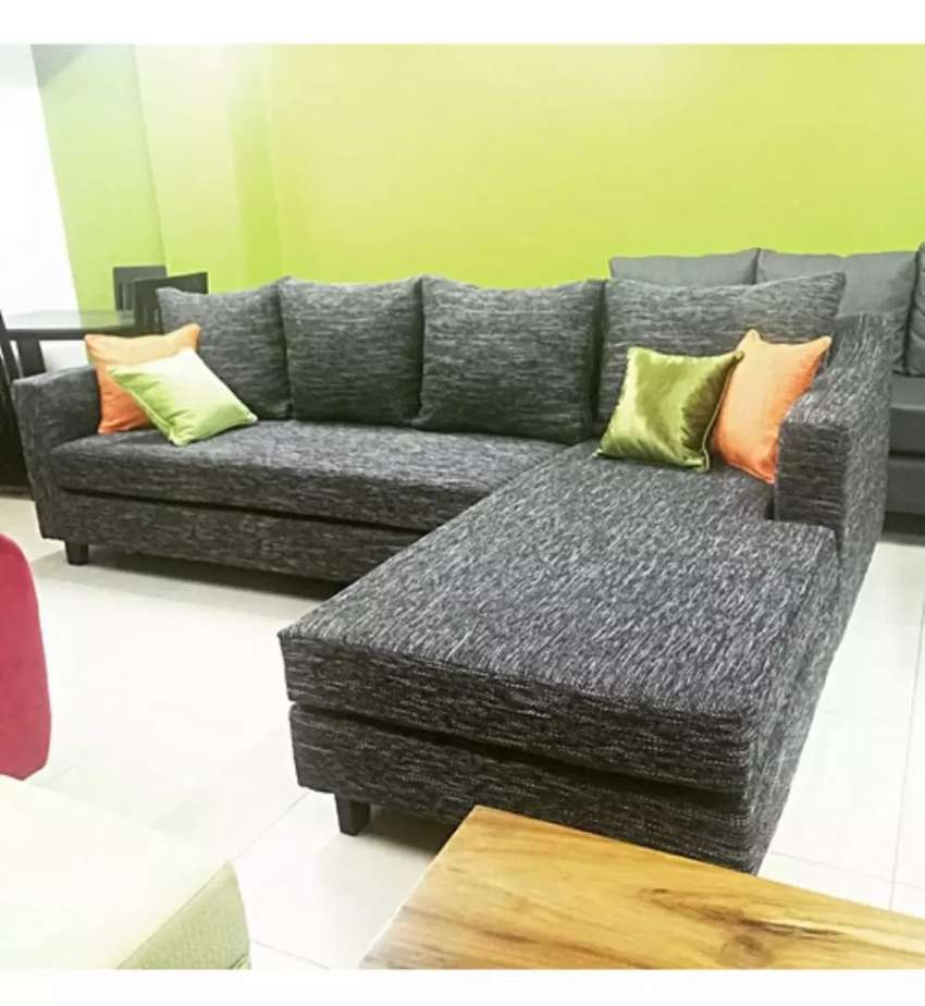 L Sectional Sofa Set . 5 Sitter Large Chaise - Grey 0