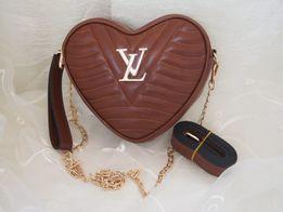 Louis Vuitton Listonoszka damska brązowa w kształcie serduszka HIT!