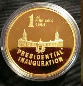 1994 Mandela Presidential Inauguration Proof 24ct Gold Coin