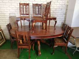 solid kiaat wood dining room table and chairs for sale