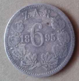 1895 ZAR Kruger silver sixpence