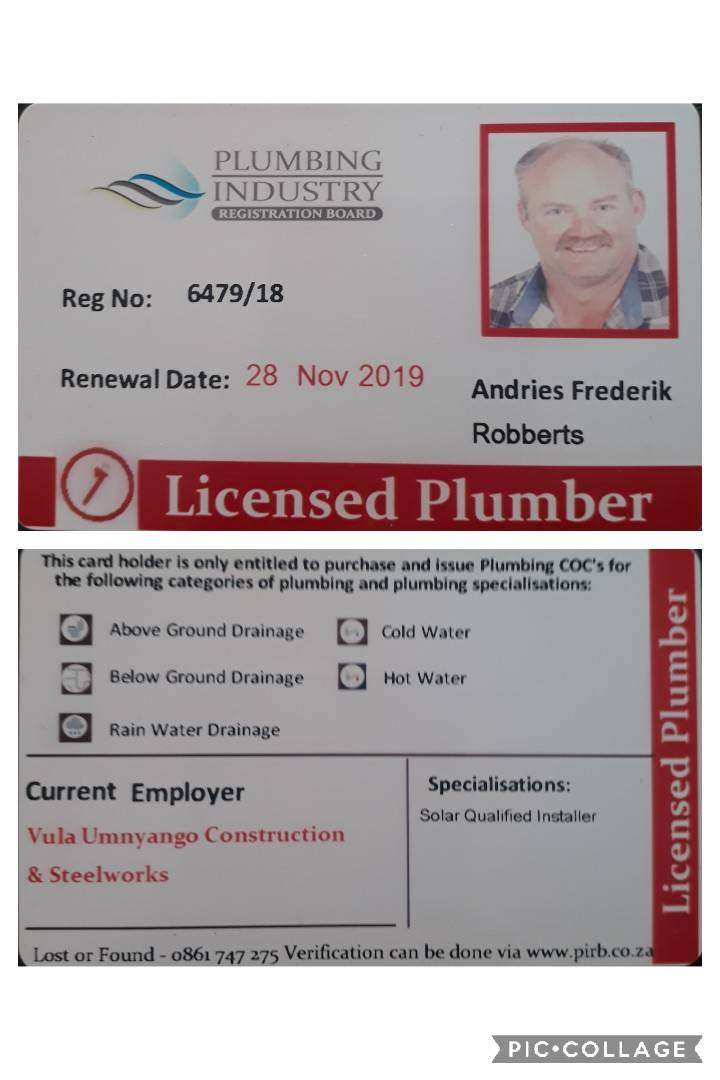 PIRB Registered Plumbing Inspections and COC 0