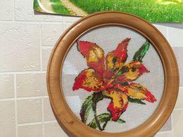 картина орхидея, вышита