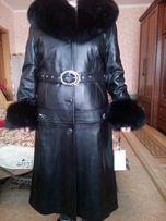 Зимнее весеннее новое кожаное пальто 4 в 1.Чернобурка мех.