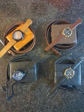 Mens watch, belt and wallet combo