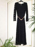 Платье женское черное кружево золотой пояс Италия S/M нарядное
