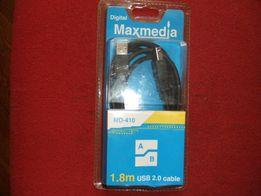 Кабель USB 2.0 : A-B Maxmedia