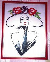 Картина бисером дама в шляпе