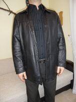 Kurtka męska, czarna, skóra naturalna ocieplana