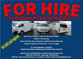 Toyota Quantum Panel Van High Roof for Hire