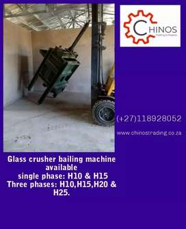 Glass crusher bailing machine