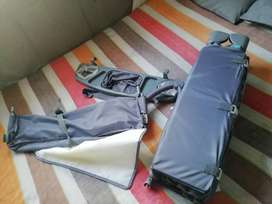 Chelino  grey baby cot plus walking ring and a carry cot