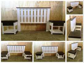 Headboard Farmhouse series Queen size bed set Two tone