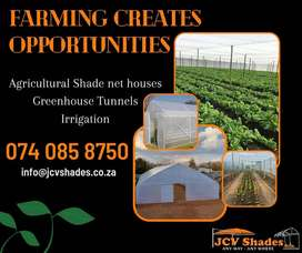 AGRI SHADE NET HOUSES, GREENHOUSE TUNNELS, IRRIGATION, RESERVOIRS