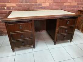 Solid wood inlay desk with 6 drawers and 2 x chairs