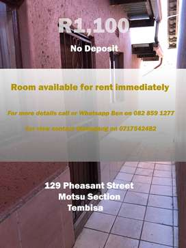 ROOM AVAILABLE FOR R1100 - MOTSU SECTION