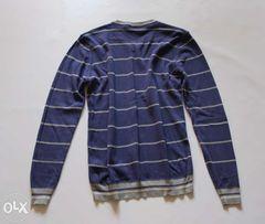 Sweter męski granatowy niebieski paski S 36 de blasio