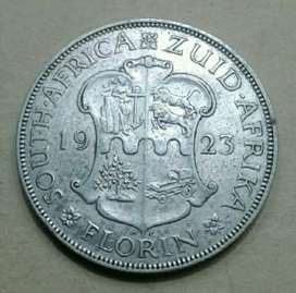Excellent 1923 S.A silver 2 Shillings (key date)