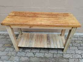 Pine display table with bamboo top