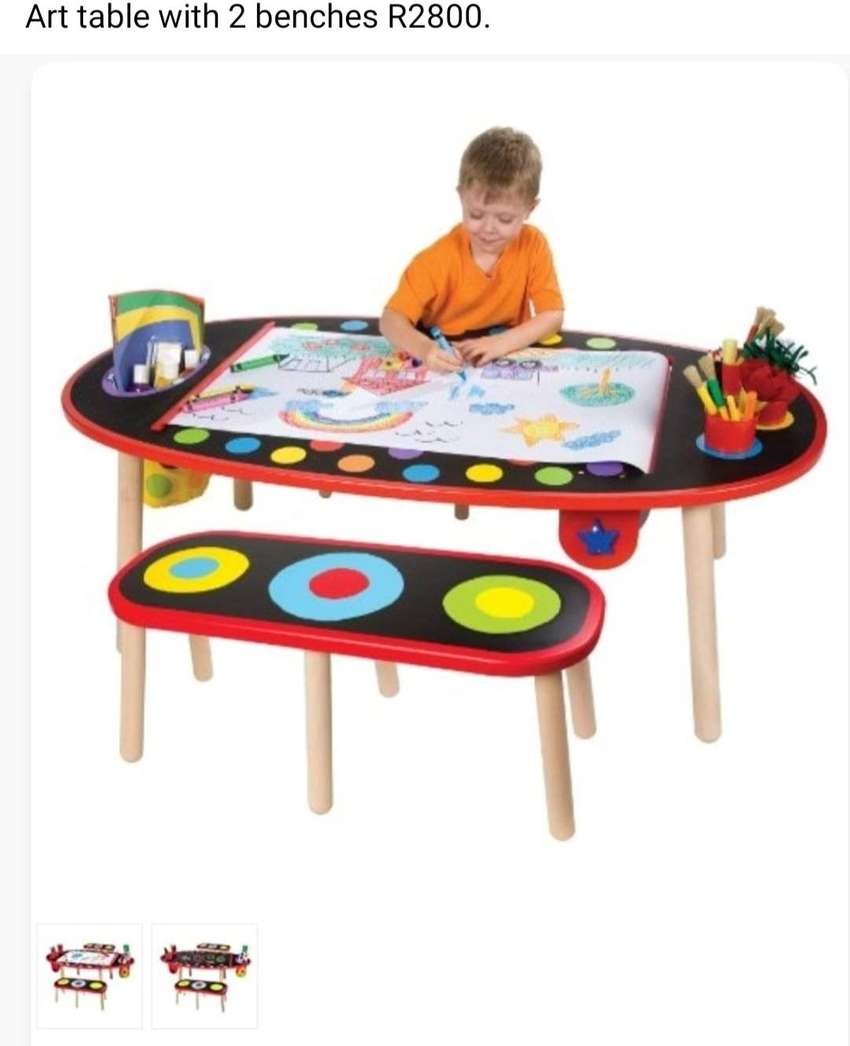 Kids art table with 2 matching benches