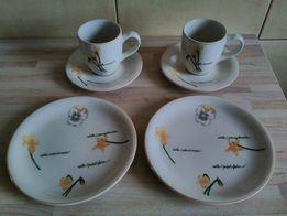Nowy zestaw śniadaniowy dla dwóch osób porcelana kubki talerzyki