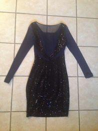 Sukienka Mohito granatowa welur cekiny r.34 welurowa aksamit