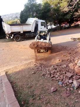 Loading rubble with a bobcat