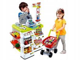 Duży Supermarket Sklep Kuchnia dla dzieci Kasa fiskalna Wózek Zakupy
