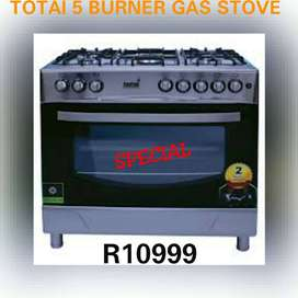 New 5 burner 90cm Totai gas stove with electric oven