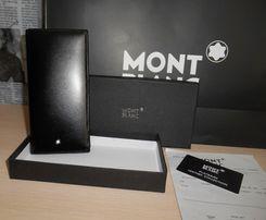 Duży oryginalny czarny PORTFEL MĘSKI Mont Blanc, skóra, Niemcy 69-004