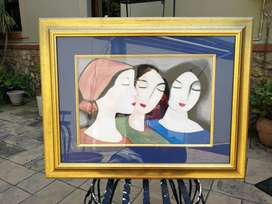 Painting of 3 ladies(green, red and blue)