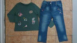 Стильный комплект Next:реглан лонгслив и джинсы узкачи с нашивками 2/3