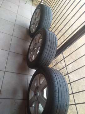 original Gold 5, 15' inch tyres and rims (3) plus spare wheel