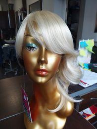 Peruka sztuczne bob blond platyna krótkie grzywk asymetria 7740 Andrea