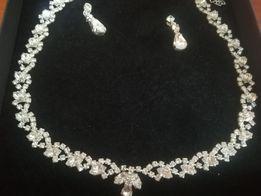 Biżuteria ślubna, naszyjnik + kolczyki
