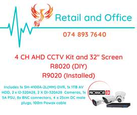 4 CH AHD CCTV KIT AND 32 INCH MONITOR