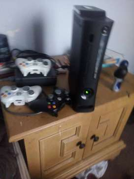 Xbox 360 with 3 controllers and 3 games