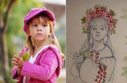 Подарок Детская открытка фото именинника день рождения акварель рисуно