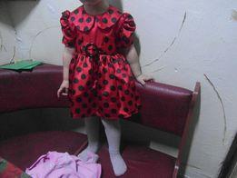 платье красное в горошек на рост 90-104