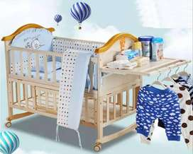 Solid Wood Baby Crib Cot with FREE Mattress