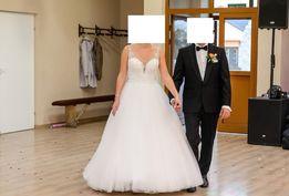Suknia Justin Alexander 8886, certyfikat, welon, halka