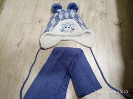 Продам зимнюю шапку-ушанку с шарфом